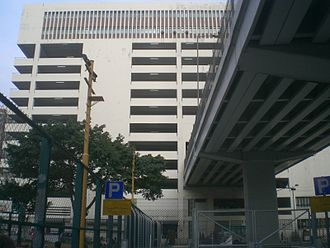 Route 5 (Hong Kong) - An overhead viaduct carries route 5 through a parking garage in Yau Ma Tei