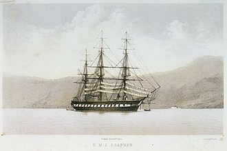 Capture of USS Chesapeake - HMS Shannon, depicted in 1855 near the end of her working life