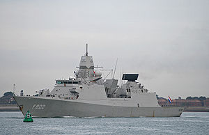 De Zeven Provinciën-class frigate - HNLMS De Zeven Provincien (F802) outward bound from Portsmouth Naval Base, UK, on 21 September 2009.