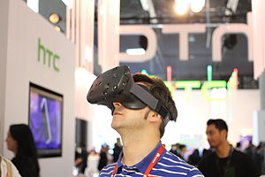 Stereoscopic video game - A HTC Vive that is designed for virtual reality gaming with stereo 3D graphics.