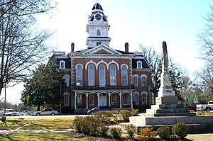 Hancock County Courthouse and Confederate Monument in Sparta