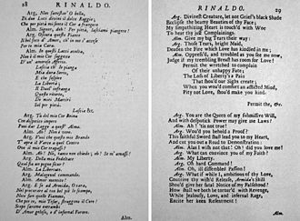 Rinaldo (opera) - Pages from the 1711 libretto; Italian on the left, English translation on the right