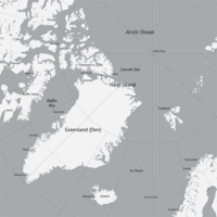 Location of Hans Island, between Greenland and Ellesmere Island