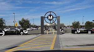 Harbor Gateway Transit Center - The old clock was replaced with signage towards the parking lot.