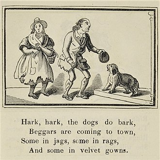 Hark, Hark! The Dogs Do Bark - Illustration from Marks's Edition of Nursery Rhymes (published between 1835 and 1857)