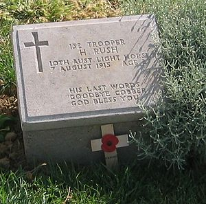 Battle of the Nek - Harold Rush's grave marker in Walker's Ridge Cemetery