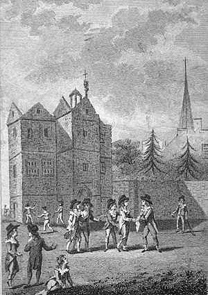 Rackets (sport) - Boys hitting up outside the Harrow Old School (ca late 1700s)