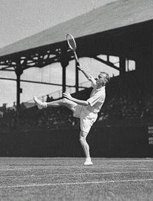 Harry Hopman - Harry Hopman hitting an overhead in the 1930s
