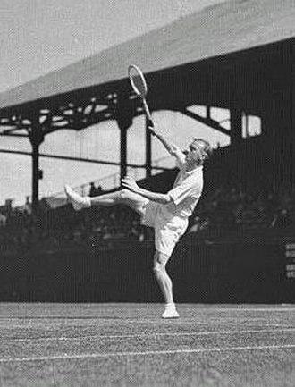 Harry Hopman - Harry Hopman hitting an overhead in the 1930s