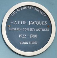 blue plaque commemorating Hattie Jacques