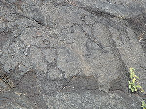 Ancient Hawaii - Petroglyphs at Hawai{{okina}}i Volcanoes National Park