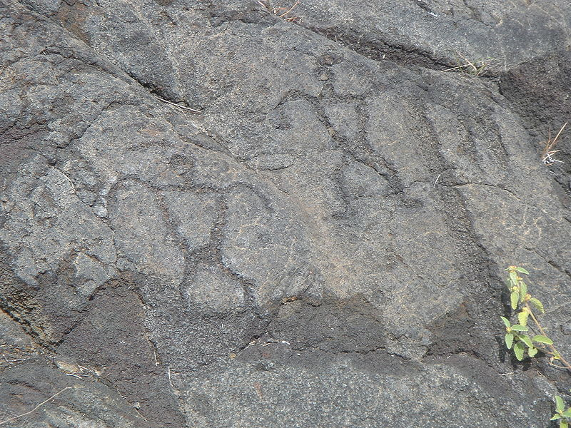 Hawaii petroglyph men