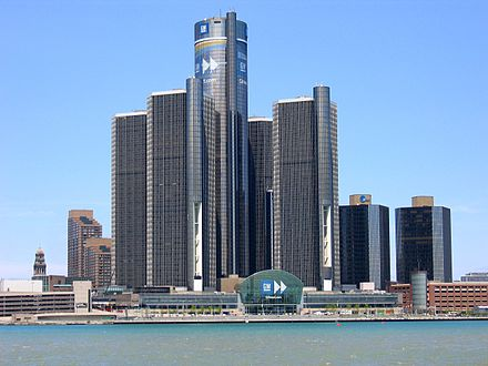 Skyscrapers in downtown Detroit Headquarters of GM in Detroit.jpg