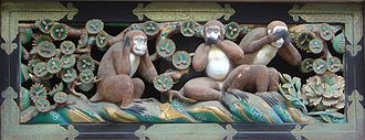 Monkey (zodiac) - The Three wise monkeys over the Tōshō-gū shrine in Nikkō, Japan