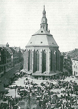 History of Heidelberg University - A solemn holy Mass was offered in the Heiliggeistkirche in 1386 to commemorate and bless the establishment of the University (photo ca. 1900).