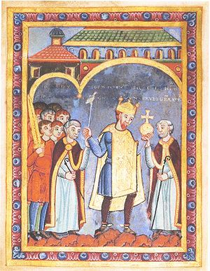 Henry III, Holy Roman Emperor - Henry with the symbols of rulership attending the consecration of the Stavelot monastery church on 5 June 1040, mid-11th century miniature