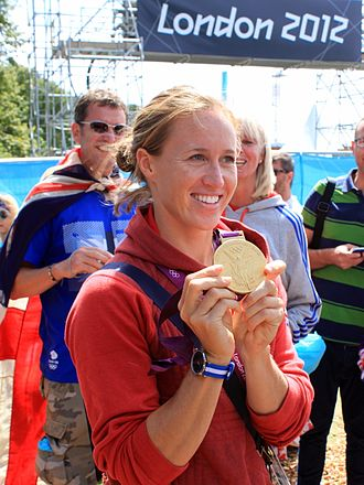 Helen Glover (rower) - Glover showing her gold medal from the 2012 Summer Olympics