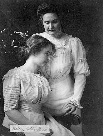 Anne Sullivan - Sullivan (standing) with Helen Keller, circa 1909