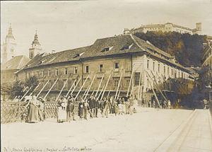 1895 Ljubljana earthquake - Hospice Street (Špitalska ulica; now Stritar Street, Stritarjeva ulica)