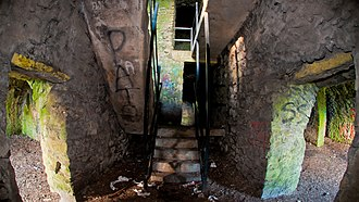 Montpelier Hill - Fisheye image of the stairs from the kitchen and servants quarters to the upper floor