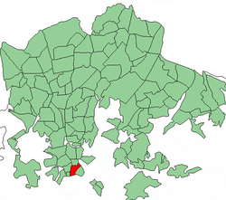 Position of Ullanlinna within Helsinki