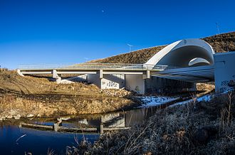 Anthony Henday Drive - The unique structure over Whitemud Creek in southwest Edmonton was constructed with wildlife in mind, and to allow for a pedestrian and bicycle path.