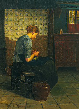Kitchen maid (domestic worker) - Dutch painting of a young kitchen maid. 19th century or early 20th century.