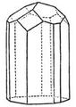 Hexagonalen Kombination des Turmalins - Basis unten - oben rhomboedrisch - Hemimorph.png