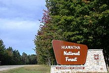 A brown and white wooden sign for the Hiawatha National Forest mounted on a stone base. The sign is installed on the right side of a highway between the road and the forest on the far right.