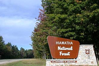 M-28 (Michigan highway) - Hiawatha National Forest road sign on M-28/M-94 in Alger County west of Shingleton