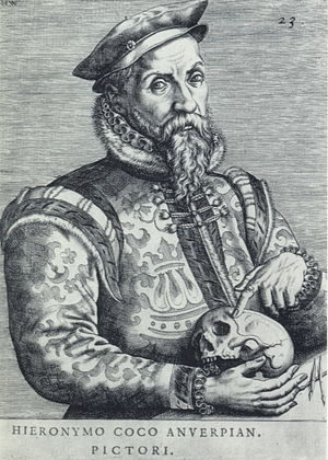 Hieronymus Cock - Portrait of Cock engraved by Jan Wierix