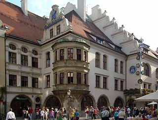 Hofbräuhaus am Platzl beer hall in the city center of Munich, Bavaria, Germany.