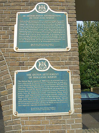 Holland Marsh - Holland Marsh Memorial plaque at the former city hall in Nieuwe Pekela, the Netherlands