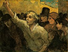 A painting of a man at the forefront of a crowd raising his fist.