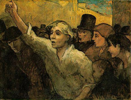 Le soulèvement: peinture de Honoré Daumier La France connaît de nombreuses révoltes populaires, parfois des révolutions et des crises de régimes, au cours du XIXesiècle.