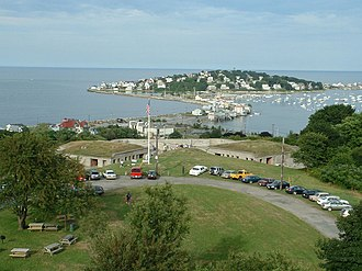 Hull, Massachusetts - Fort Revere and Allerton, as seen from the fort's water tower observatory