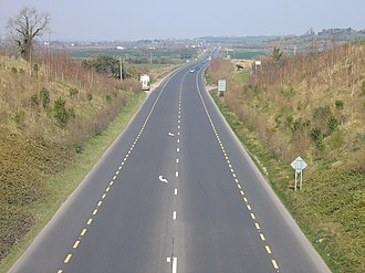 N9 road (Ireland) - R448 Moone-Timolin bypass, County Kildare, the former N9 now itself bypassed by the M9
