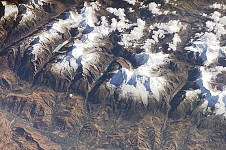 Cordillera Blanca - Part of the Cordillera Blanca as seen from the International Space Station in 2006.