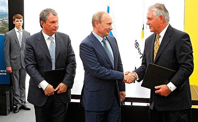 Igor Sechin, Vladimir Putin, Rex Tillerson, From WikimediaPhotos