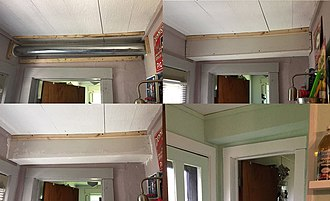 Soffit - Four panels showing the construction and finishing of an improvised interior soffit used to hide a vent duct in Michigan.