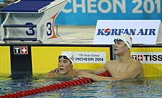 Photograph of Sun at the left and Korea's Park Tae Hwan on the right resting at the end of a swimming pool