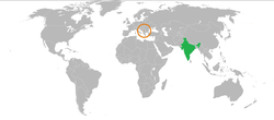Map indicating locations of India and Kosovo