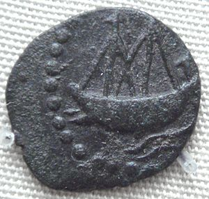 Indian Ocean trade - Indian ship on lead coin of Vasisthiputra Sri Pulamavi.