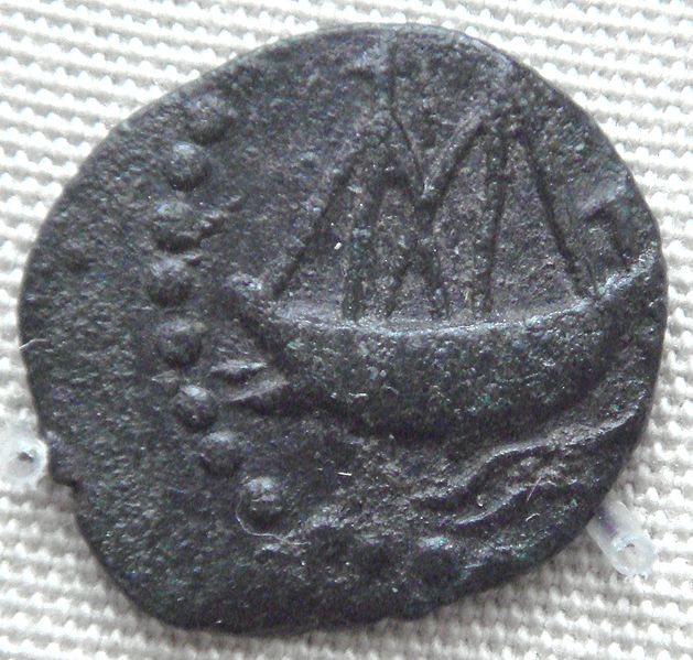 File:Indian ship on lead coin of Vashishtiputra Shri Pulumavi.jpg