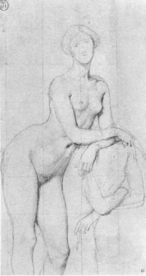 The Princesse de Broglie - Study, c 1852–53. Graphite on paper, 30 x 16 cm. Musée Bonnat, Bayonne