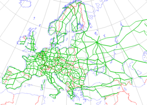 International E-road network - E-Road Network over 1990 borders