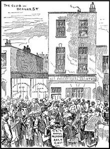 A sketch of the International Working Men's Educational Club with crowds of people in front of it.