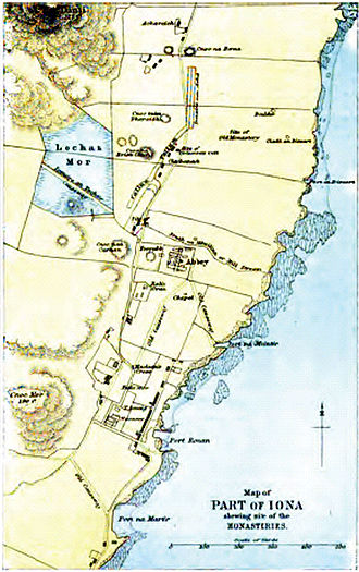 Iona - Enlargement, showing the location of the abbey and monasteries.