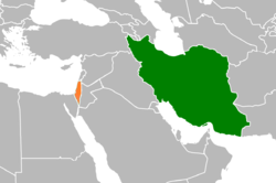 Map indicating locations of Iran and Israel