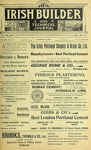 Irish Builder - Front cover of 15 December 1899 issue